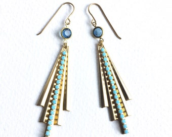 Glorious Blue and Gold Art Deco Fan Earrings with Vintage Swarovski Crystal Beads