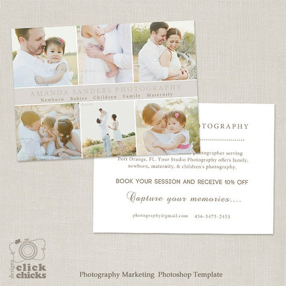 Promo Card Photography Marketing Template Flyer Postcard - Photography postcard template