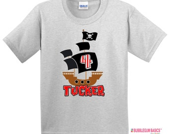 Personalized PIRATE SHIP Boys t shirt black red stripes crossbones skull Birthday Party Tee