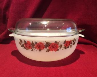 Phoenix Opalware Red Roses Pattern Casserole Dish 3 pint