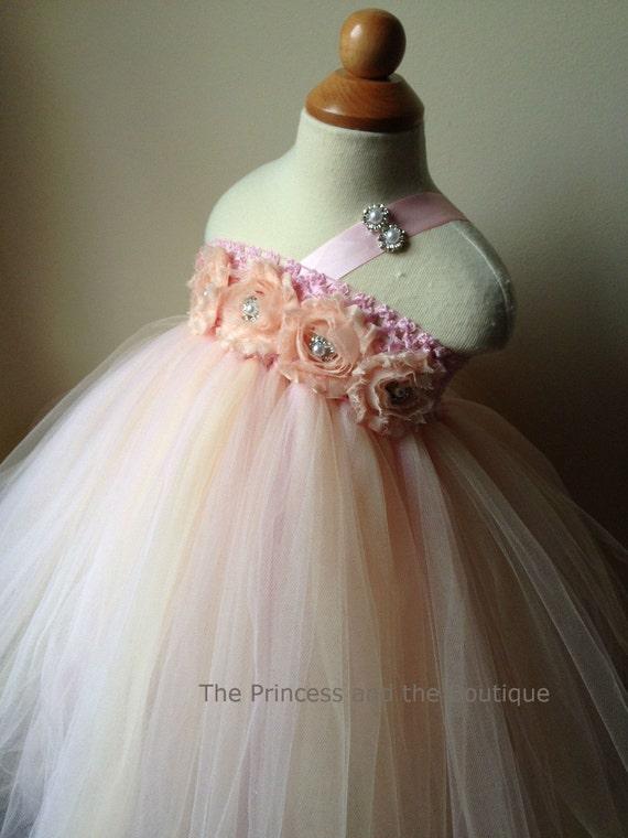 Flower girl dress light pink champagne tutu dress roses like this item mightylinksfo Choice Image