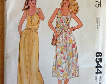 """McCalls 6544 1970s Scoop Neck, Button Front Dress with Elastic and Drawstring Waist in Midi or Maxi Length - Size 12 Bust 34"""""""