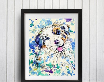 Australian shepherd art print, Aussie shepherd art, Puppy art print, Border collie print, Aussie puppy, Watercolor dog art