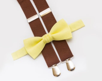 Christmas Gift  Baby Bowtie And Suspenders Wedding Boys Outfit Light Yellow Bow Tie & Brown Suspenders