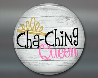 """3.5"""" rustic kitchen decor sign - inspirational sign art- quote art for kitchen - cha ching queen- daily positive quotes- MA-WORD-10W"""