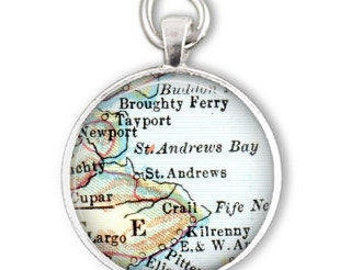 gift for dad St Andrews Scotland map, husband gift for christmas, Scotland golf gift, also as a bottle opener keychain gift