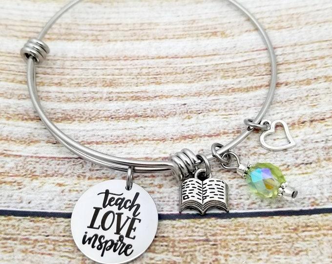 Teach Love Inspire Customizable Expandable Bangle Charm Bracelet, teacher gift, mentor gift, school, student, leader, coach