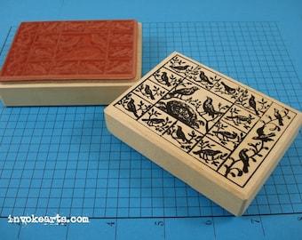 Vintage Bird Panel Stamp / Invoke Arts Collage Rubber Stamps