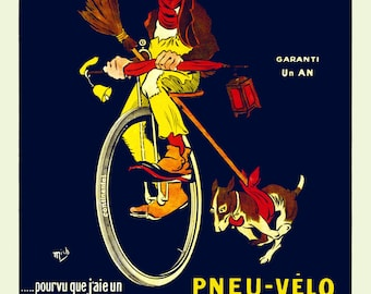 """1900 French Continental Bicycle Tire Ad Poster Art Print 8.5"""" x 11"""" Reprint"""