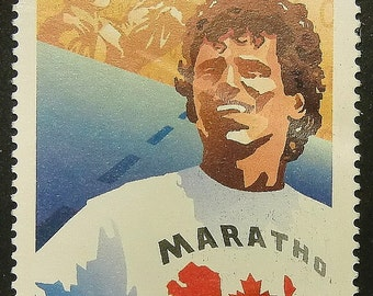 Terry Fox, Marathon Of Hope, Canada -Handmade Framed Postage Stamp Art 13599