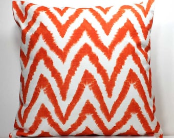 SALE - 18 inch X 18 Inch Decorative Throw Pillow Cover - Orange and White Chevron - Invisible Zipper Closure - Fabric Both Sides