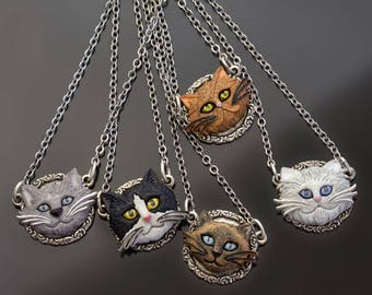 Cat Pendant. Cat Necklace, Cat Jewelry, Gift for Cat Lover, Gift for Her, Cat Lady, Cat Gift, Kitty, Feline, Pet Owner, Pet Memorial N1542