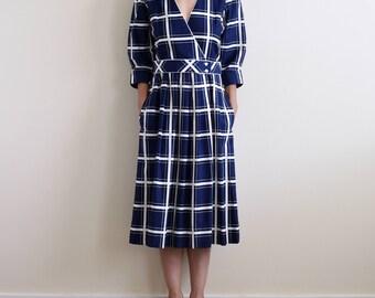 LANZ ORIGINALS vintage navy cotton plaid dress / m