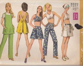 Mini Skirt Pattern Tunic Pants Midriff Top Tank 1970 Misses Size 10 Vintage Uncut Simplicity 8747