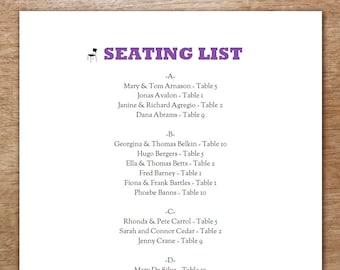 Printable Seating List - Wedding Seating List Template - PDF Download - Seating Chart PDF - Chair Silhouette Seating List - Black & Purple