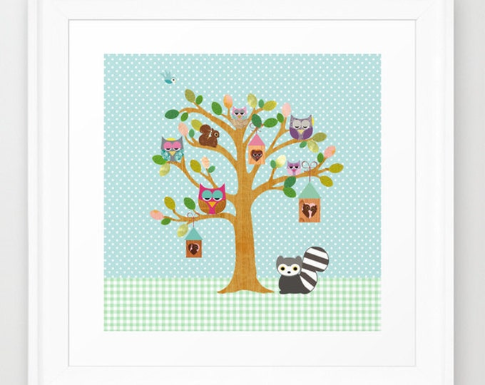 Happy Tree with cute owls, squirrel, Collage Poster Print on polka dots background, nursery wall art