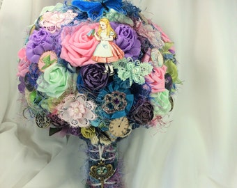 Alice Wonderland Wedding Bridal Flower Bouquet Disney Wedding Alice Fantasy Pastel Wedding Alice Theme Wedding Flowers Wonderland Alice