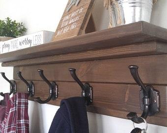 Rustic Coat Rack, Farmhouse Coat Rack, Entryway Coat Rack, Coat Rack With  Shelf