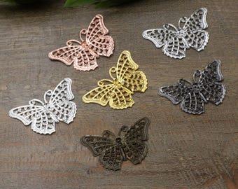 Wholesale 100 Brass Filigree Butterfly Component 25x40mm Raw Brass/ Antique Bronze/ Silver/ Gold/ Rose Gold/ Platinum/ Gun-Metal Plated