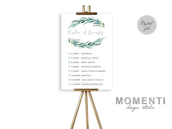 Order of Events sign printable Timeline wedding sign
