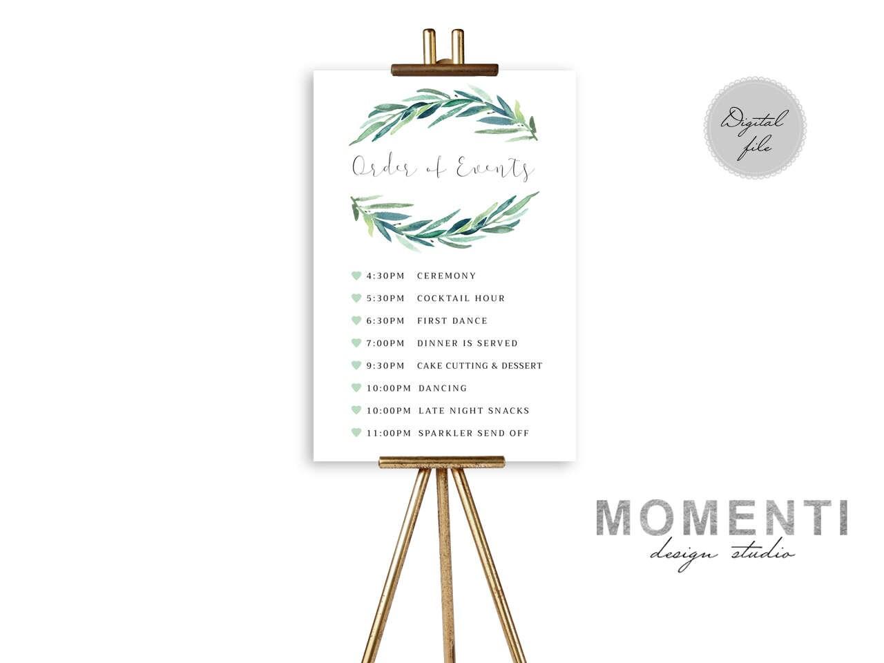 Order Of Events Sign Printable Timeline Wedding