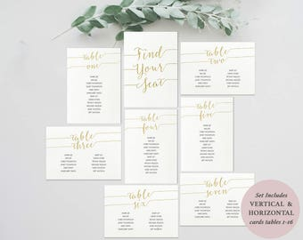 Collage Seating Chart Kit - Gold Seating Assignment - Horizontal & Vertical Cards - Instant Download - Editable PDF - 5x7 inches - #GD0825