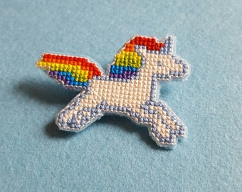 Unicorn Pin Badge, Cross Stitch Pin Badge, Unicorn Accessory, Unicorn Gift, Unicorn Fashion, Unicorn Jewellery, Unicorn Jewelry