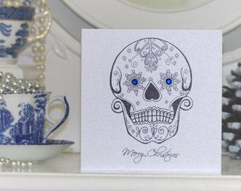 Snowflake Sugar Skull Tattoo Alternative Christmas Card