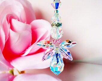 Angel Ceiling Fan Pull Chain, Swarovski Crystal Pink Little Girls Room Nursery Decor, Angel Light Pull