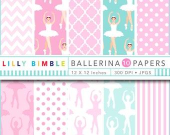 Digital Scrapbook Paper BALLERINA ballet in pink and aqua patterned scrapbooking paper Instant Download