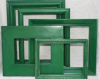 Green picture Frame Set Shabby Chic Hand Painted Distressed Frame Set
