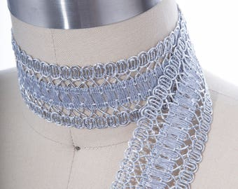 """Silver or Gold Gimp Wide Metallic Crochet Like Woven Gimp For Furniture, Costumes and More 1.75"""""""