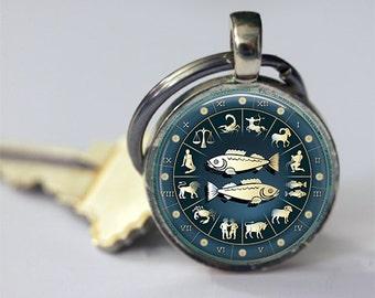 Pisces Keychain Zodiac Accessories Astrological Symbol Fish February March Birthdays Astrology Key Chain, Key Fob