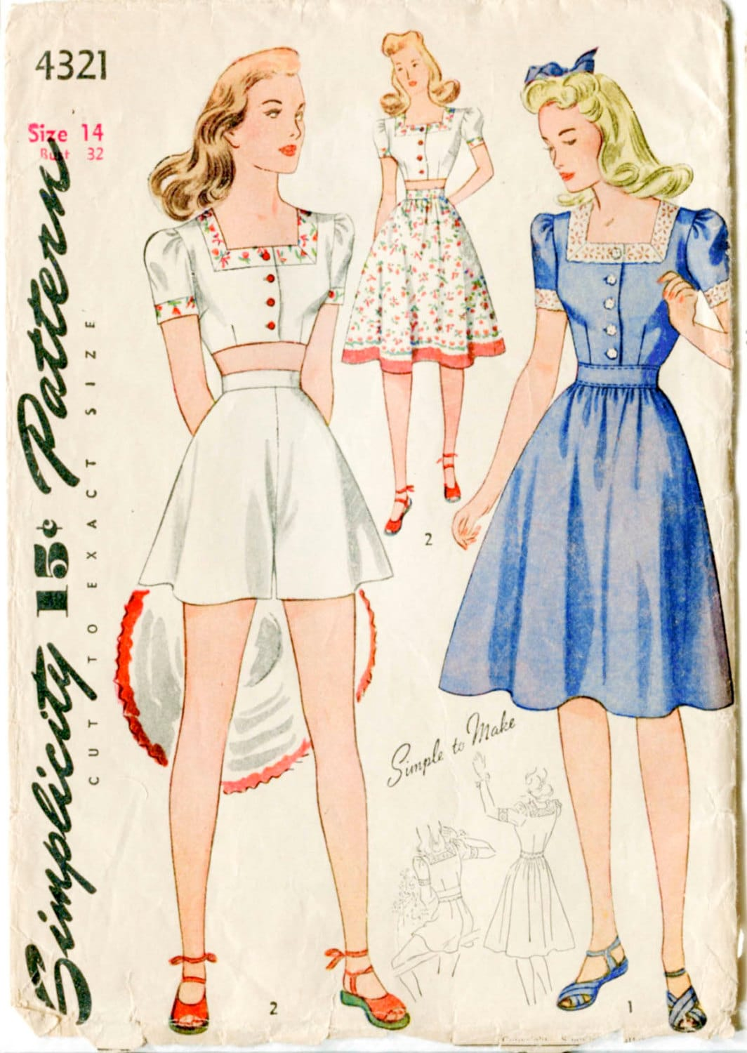 1940s 40s vintage sewing pattern crop top playsuit skirt beach 1940s 40s vintage sewing pattern crop top playsuit skirt beach romper bust 32 b32 repro jeuxipadfo Image collections