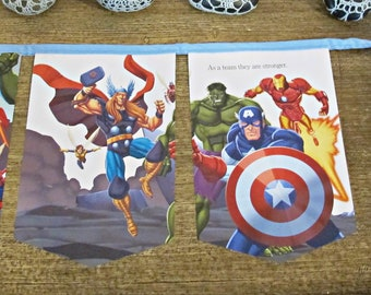 The Avengers Birthday Party Bunting - Superhero Nursery Baby Shower Blue - Captain America Thor Iron Man For Children Boys Girls - Bookworm