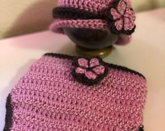 Sophisticated Rose Hat & Diaper Cover - Newborn