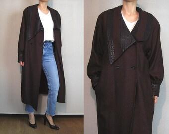 80s AVANT GARDE Wool + Leather Cocoon Coat Vintage Puffed Mutton Leg Balloon Sleeve Coat Wine Black Striped Cocoon Coat Avant Garde Coat