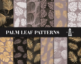 Brown & Gold Palm Leaf Patterns, Tropical Leaves Digital Paper, Hawaii Backgrounds, For Scrapbooking, Invites And Planners, BUY7FOR10