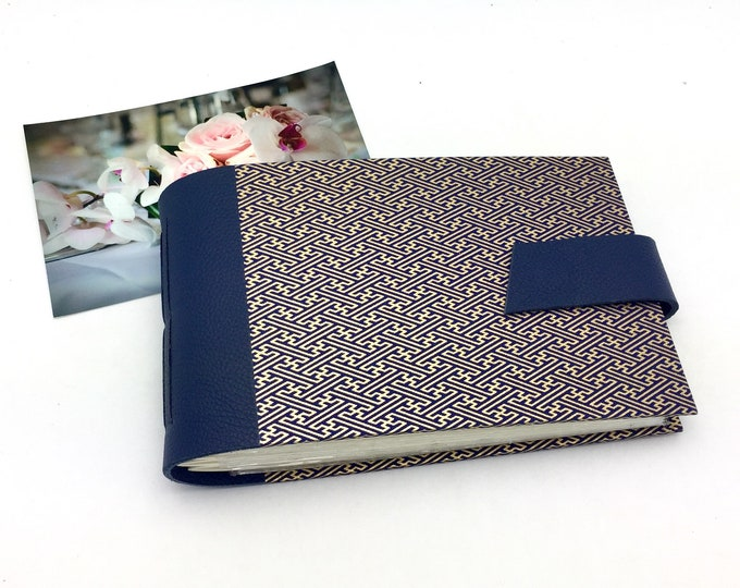 Wedding Mini Photo Album, Navy and Gold, Anniversary Gift, Personalize It