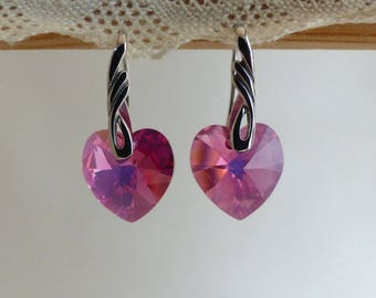 Hanging Crystal and pink glass earrings