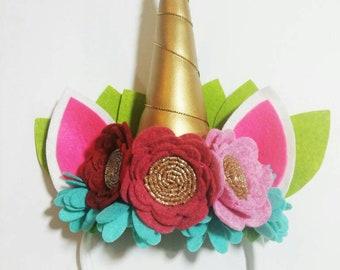 Wool Felt Flower Unicorn Headband, Unicorn Headband, Unicorn Theme Birthday Party