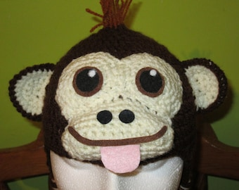 Cheeky monkey hat,  All sizes available. Made to Order Only!
