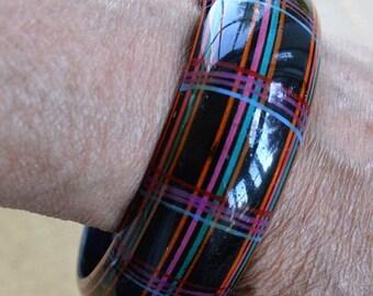 On sale Pink, Red, Blue, Orange, Black Plaid Wooden Bangle Bracelet, Multi-Colored, Vintage