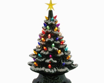Ceramic Christmas Tree 11 1/2 Inch Tall Tabletop Tree with Snow Tipped Branches Color Lights and Star Electric Lighted Tree - Made to Order