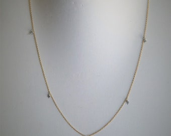 Natural and raw diamond necklace, 14k gold fill chain, minimalist necklace, dainty, diamonds and gold, layering necklace