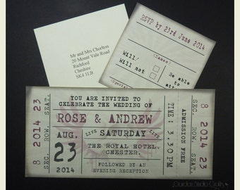 Ticket Style Wedding Invitation with Free RSVP Vintage Ticket