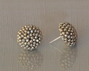 SILVER color studs earrings -15 mm/charming earring with CLIP on or SILVER post -for pierced or non piercer earlobe