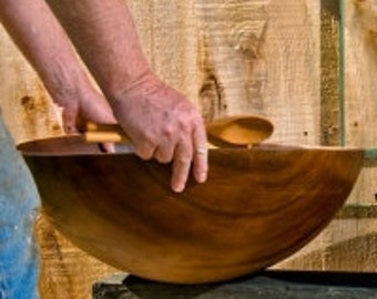 "Extra Extra Large Wood Salad Bowl Heirloom Quality Cherry Feeds a Crowd 17"" (20 Servings) 