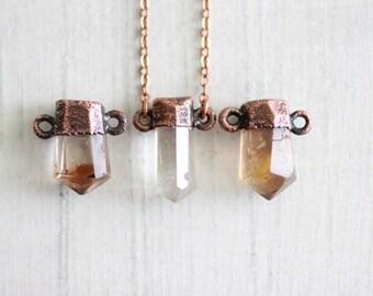 Topaz Necklace Copper Necklace Electroformed Pendant Golden Topaz Necklace Gemstone Necklace Crystal Pendant Topaz Golden Topaz