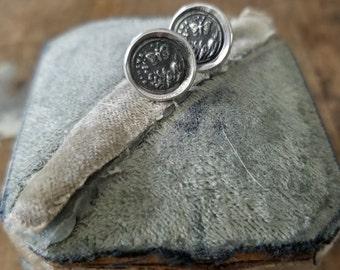 Butterfly stud earrings - Butterfly Earrings from an antique wax seal  - 116EAR